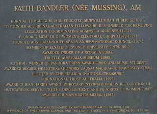 The plaque on the Faith Bandler monument at Tumbulgum
