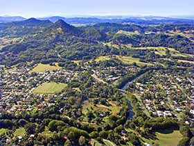Aerial view of Mullumbimby and Mount Chincogan © Big Volcano